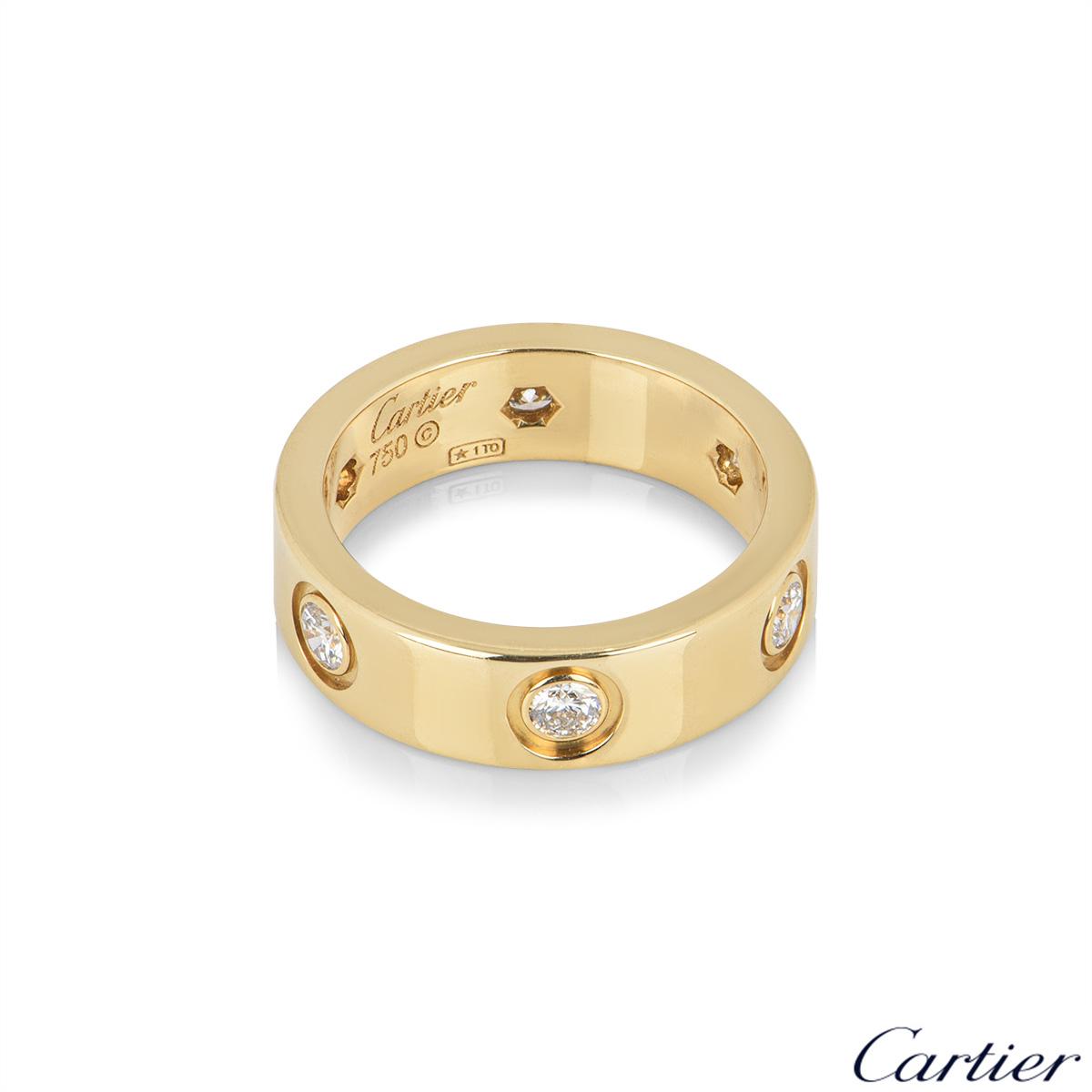 CartierYellow Gold Full Diamond Love Ring Size 57 B4025900